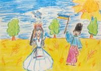 Before the Day of National Flag of Ukraine.Children's Drawings