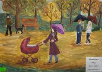 Autumn walk.Children's Drawings