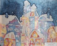 Snowy city.Children's Drawings