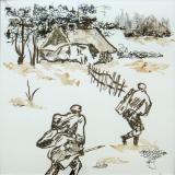 The enemies burned native hut.Children's Drawings