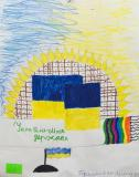 Sunflower and flag.Children's Drawings