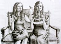 girls with yarn drawing