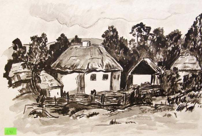 Ukrainian houses.Children's Drawings