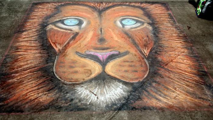 Lion on the Sidewalk