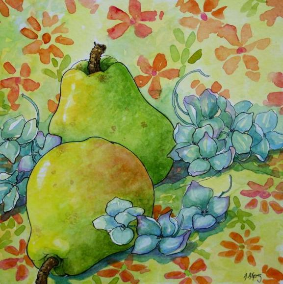 Pears and Hydrangea