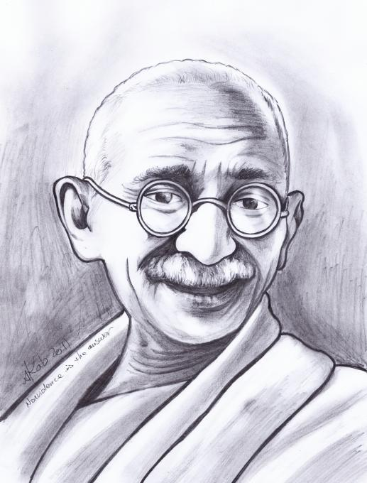 Easy Pencil Sketches Of Gandhiji