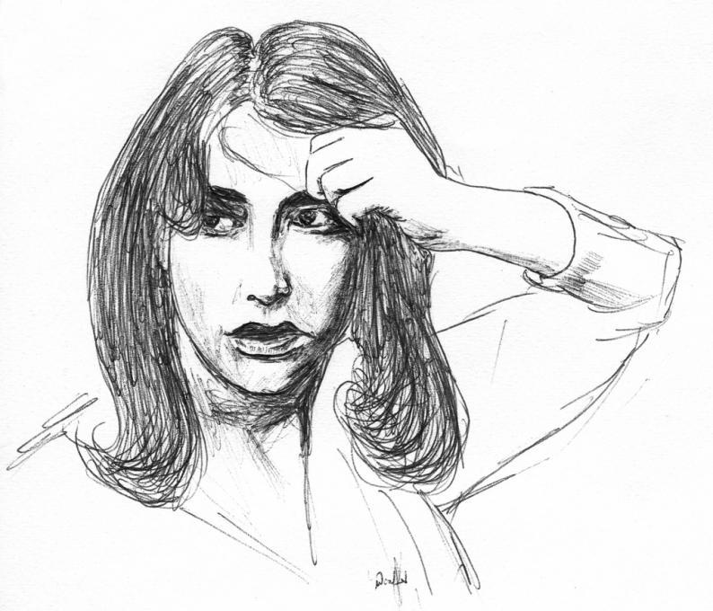 A Girl Pulling Her Hair People Drawings Pictures Drawings Ideas