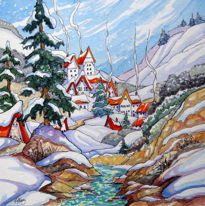 A Winter Village Life People Drawings Pictures Ideas
