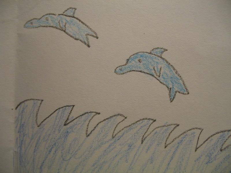 Child S Drawing Dolphins Nature Drawings Pictures Drawings
