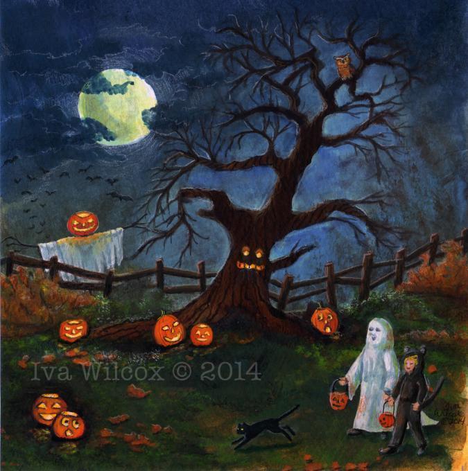Original Halloween Gouache Painting Holidays Drawings