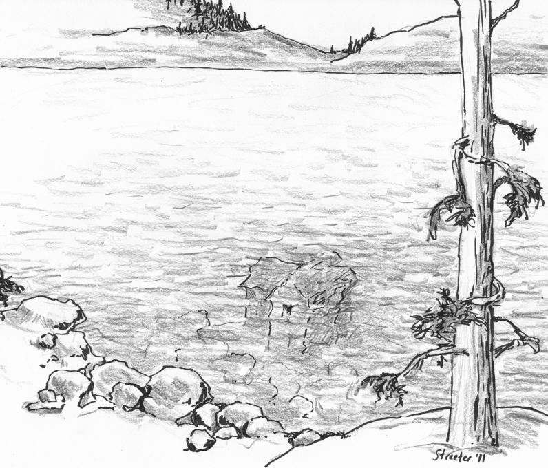 Картинка озеро карандашом