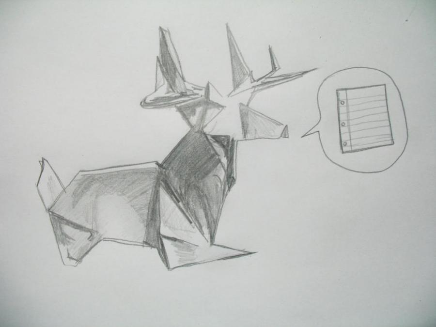 Origami Deer Author Drawing