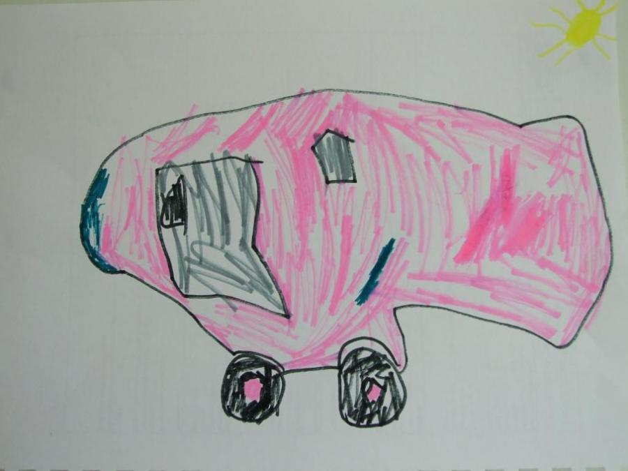Pink Car Felt Tip Pen Drawing My Country Drawings Pictures