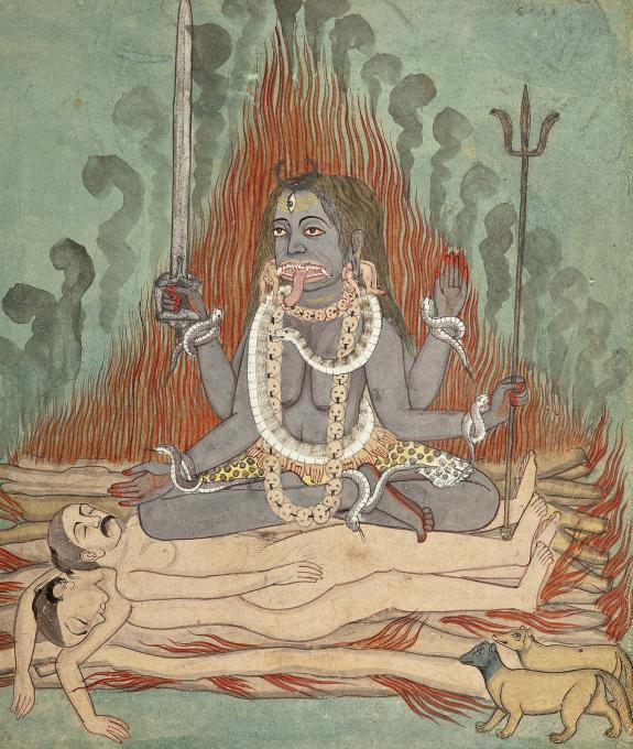 Shiva, Vishnu, and Brahma Adoring Kali   Life people  Drawings
