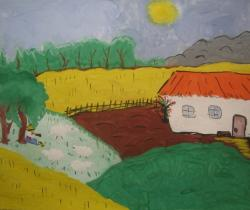The space Ukrainian village.Сhildren's drawings