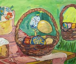 Easter Basket.Children's Drawings