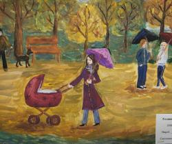 Autumn walk.Children's Drawings