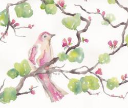 Pink fantasy bird