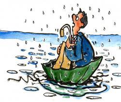 Floating on the umbrella