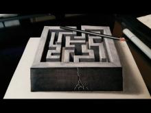 Embedded thumbnail for Drawing a 3D Maze - Optical Illusion