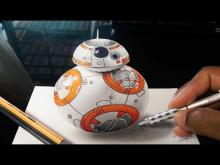 Embedded thumbnail for Drawing 3D BB-8 Robot from Star Wars