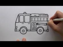 embedded thumbnail for how to draw a cartoon fire engine