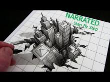 Embedded thumbnail for How to Draw a Hole 3D City Optical Illusion: Narrated Step by Step