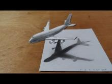 Embedded thumbnail for How I Draw a 3D Airplane, Boeing 747 Flight Illusion